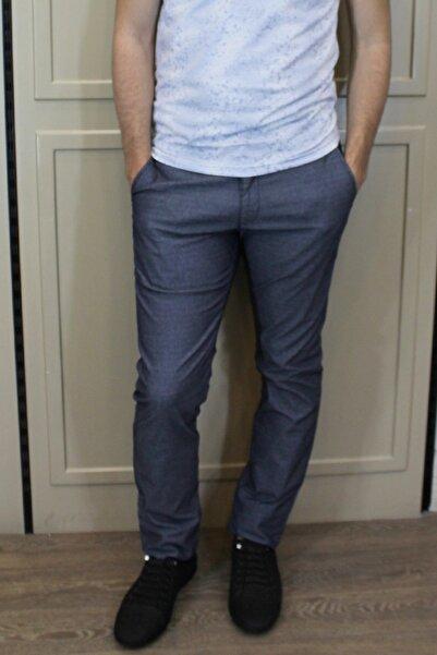 Brango Erkek Lacivert Gri Keten Chino Pantolon