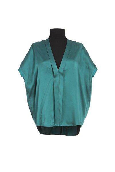 Ayşen Armağan A2 989 Standart Beden Ipek Bluz Zümrüt Yeşili