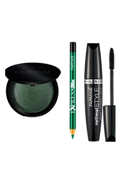 Farmasi Makyaj Seti ( Optimal Maskara + Göz Farı Yeşil + Göz Kalemi Zümrüt)