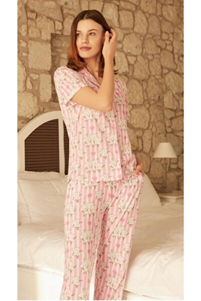 Eros Kisa Kol Gomlek Yaka Pijama Takimi