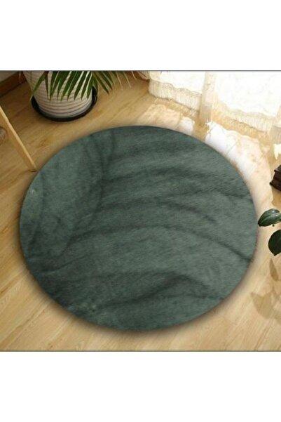 Balat Halı Dekoratif Koyu Gri Peluş Yumuşak Yuvarlak-oval Halı