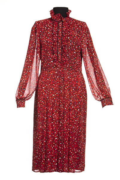 Ayşen Armağan A2 984 Leoparlı Bele Oturan Elbise Kırmızı