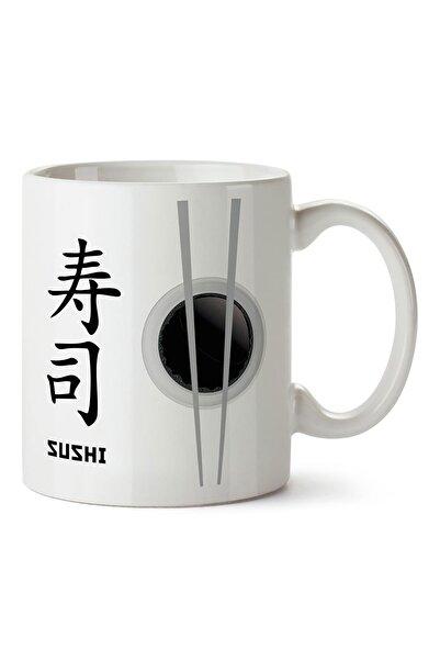 Mespho Japon Sushi ve Yemek Çubukları Tasarım Baskılı Kupa Bardak