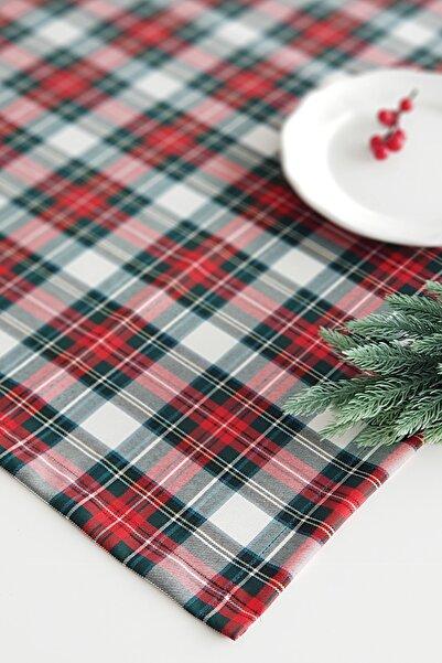 Funbou Yılbaşı ekose kırmızı yeşil beyaz masa örtüsü / 140x240 cm