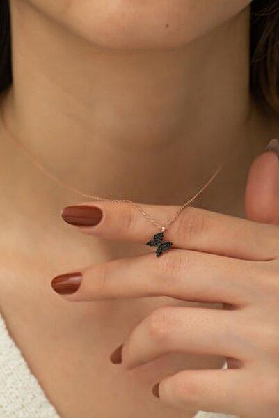 925 Ayar Siyah Minik Kelebek Kolye Kadın Gümüş Kolye
