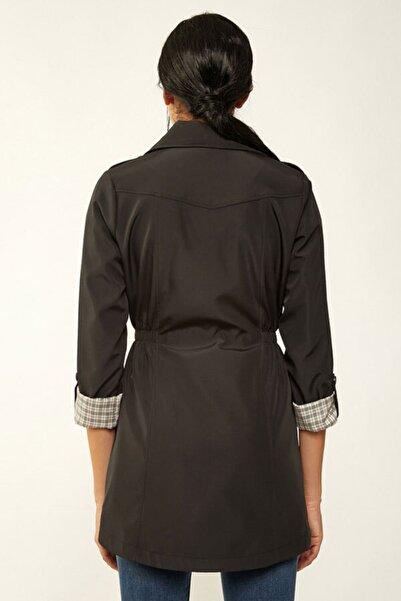 Kadın Siyah Belden Lastikli Trençkot 5669bgd19_001