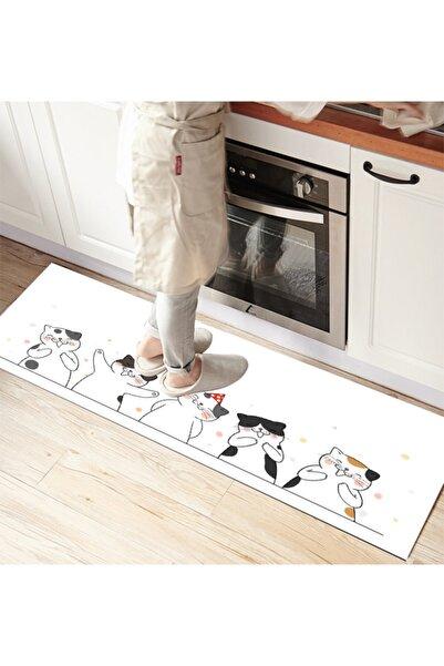 Else Halı Else Sevimli Kediler 3d Desenli Ince Mutfak Halısı