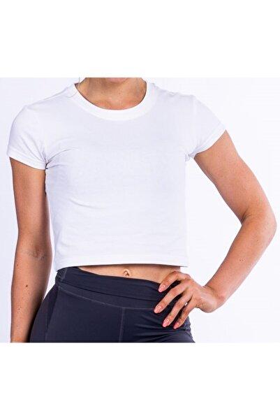 ALYA Kadın Crop T-shirt Beyaz