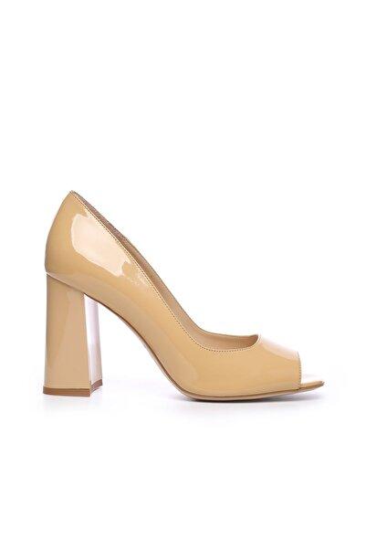 KEMAL TANCA Hakiki Deri Sarı Kadın Kalın Topuklu Ayakkabı 613 23532 BN AYK