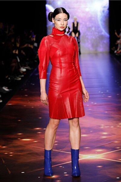 MERT ERKAN Aıdan Hakiki Deri Kırmızı Elbise