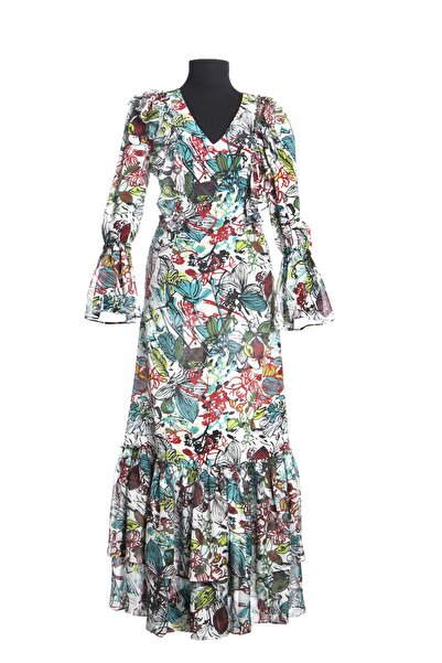 Ayşen Armağan A2 838 Çiçek Desenli Elbise Multı Color