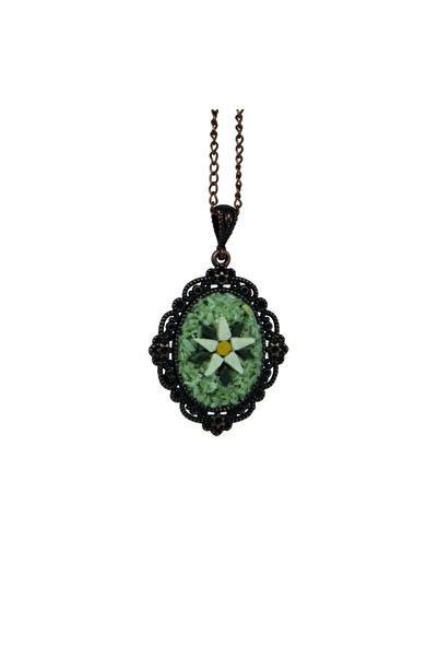 Emotion Handmade Doğal Taş Mozaik Çiçek Kolye N1062