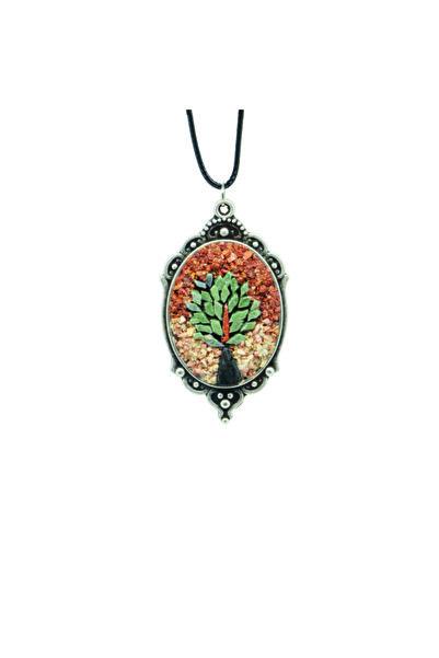 Emotion Handmade Doğal Taş Mozaik Hayat Ağacı Kolye N1067