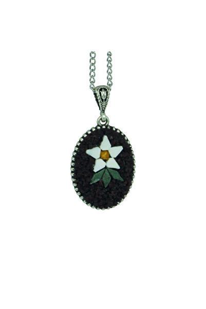 Emotion Handmade Doğal Taş Mozaik Çiçek Kolye N1056