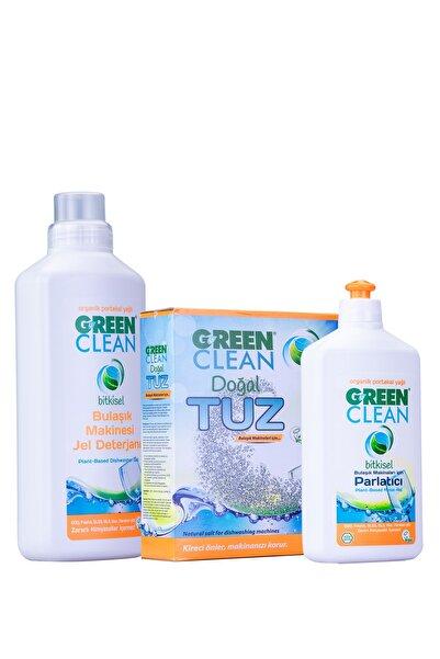 Green Clean Bulaşık Makinesi Jel Deterjan 1 Lt. + Tuz 1,5 Kg. Parlatıcı 500 Ml. 3' Lü Set