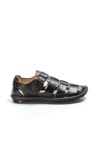 FAST STEP Hakiki Deri Siyah Erkek Klasik Sandalet 927MA021