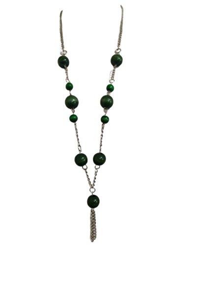 Selin Zincirli Ahşap Kolye (yeşil)