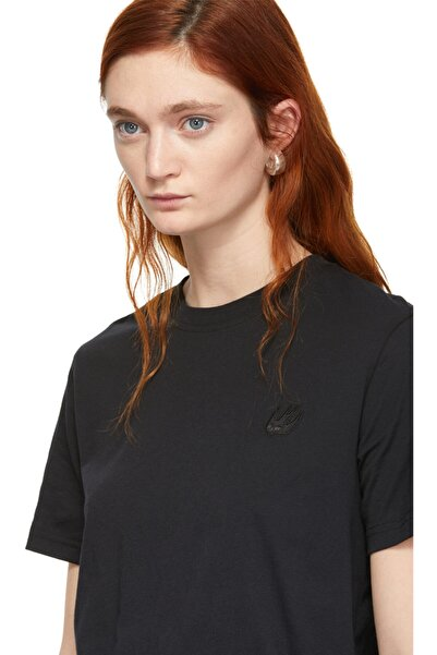 Sıfır Yaka Siyah Uniseks T-shirt