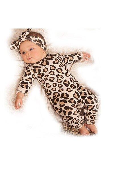 BebekOdam Leopar Desenli Bandanalı Kız Bebek Tulum