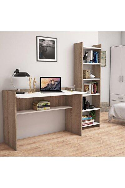 Bimossa T7020 Mahpeyker Kitaplık Ve Çalışma Masası Ceviz/beyaz