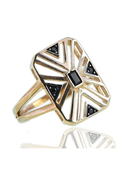 exist silver 925 Ayar Gümüş Siyah Swarovski Taşlı Tasarım Rose Yüzük