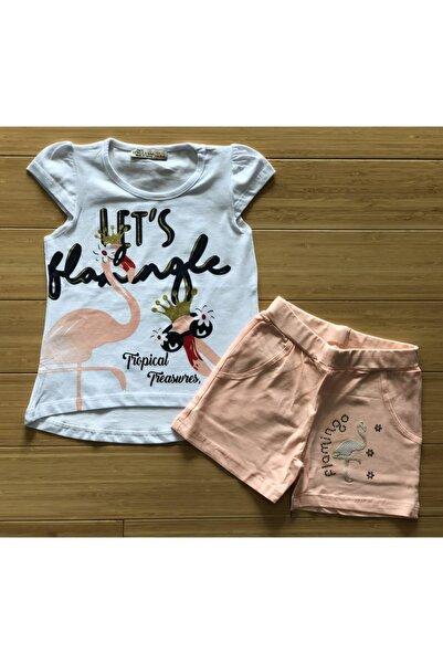 Stella Kız Çocuk 1-8 Yaş Flamingo Baskılı Şortlu Takım