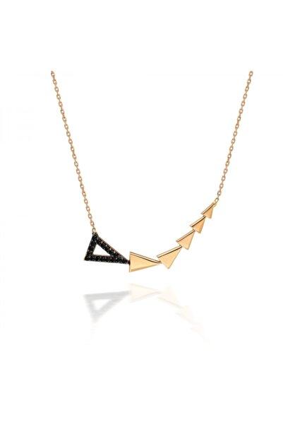 PinkGoldStore Triangles Siyah Taşlı 14 Ayar Altın Kolye