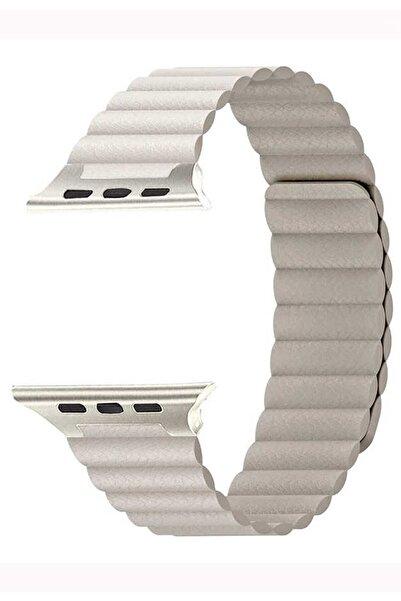 Coverzone Apple Watch Kayış 42 Mm Deri Gold