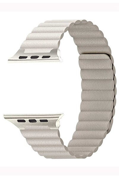 Coverzone Apple Watch Kayış 44 Mm Deri Gold