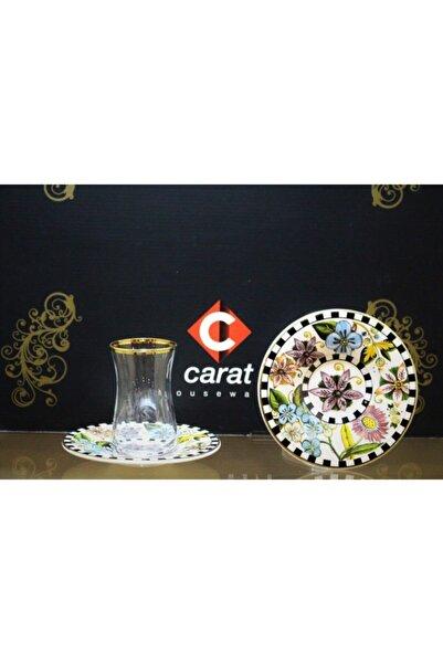 çerçi Carat 6 Lı Çay Bardağı Seti Damalı Çiçek