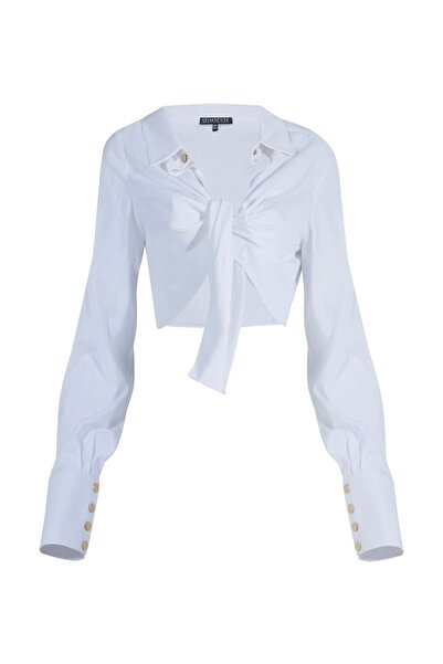 Selma Çilek Beyaz Önden Bağlamalı Gömlek