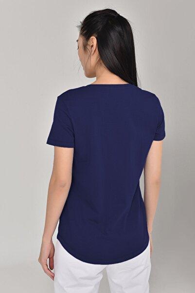 Lacivert Büyük Beden Kadın T-Shirt GS-8132