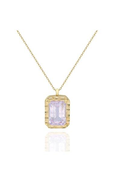 PinkGoldStore Kunzite Crystal 14 Ayar Altın Kolye