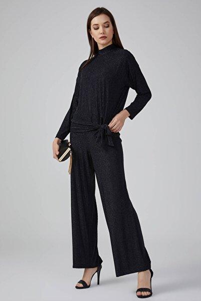Gusto Kadın Siyah Beli Lastikli Bol Paça Simli Pantolon 20KG009129