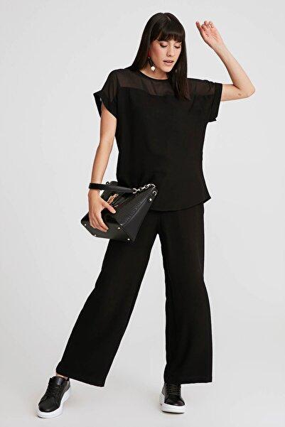 Gusto Kadın Siyah Bol Paça Keten Pantolon  20YG001129