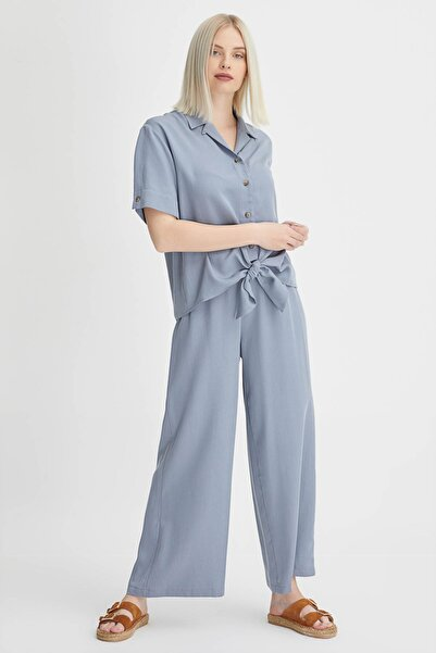 Gusto Kadın Gri Bol Paça Tencel Pantolon 20YG001108