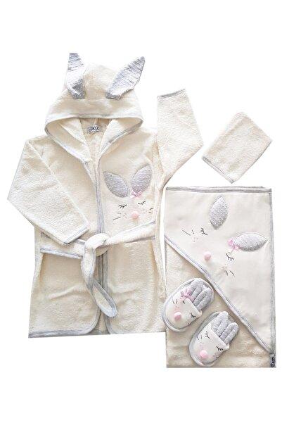 Gaye Kız Bebek Havlu Bornoz Seti 100834 - Bebek Doğum Hediyesi