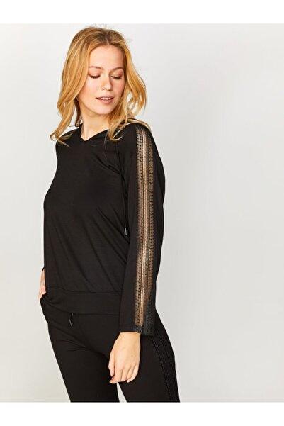 Faik Sönmez Kadın Siyah Dantel Şeritli Sweatshirt 60320 U60320