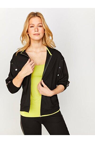 Faik Sönmez Kadın Siyah Kontrast Renk Şeritli Sweatshirt  60317 U60317