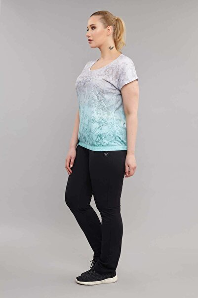 Mavi Büyük Beden Pamuk/Poly Kadın T-Shirt ES-3586