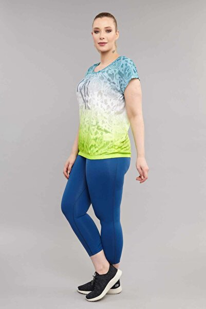 Sarı Büyük Beden Pamuk/Poly  Kadın  T-Shirt ES-4223