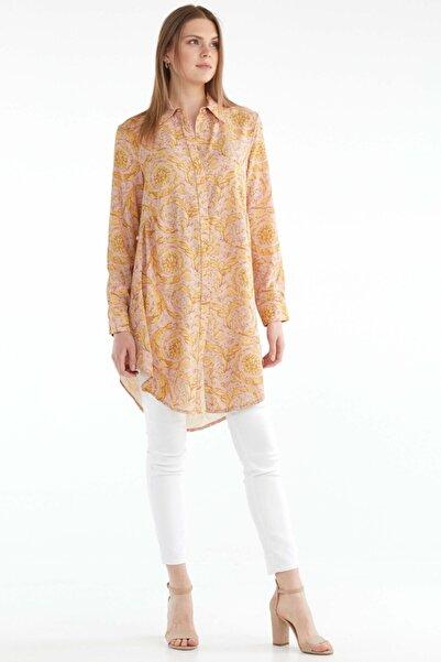 Sementa Kadın Rahat Kesim Desenli Uzun Gömlek - Pembe