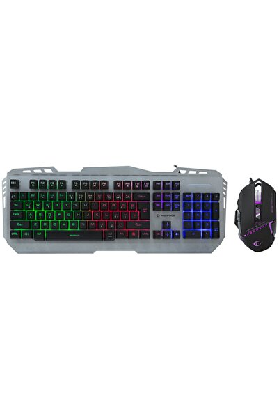 Everest Rampage Km-rx8 Metal Kasa Rainbow Işıklı Q Gaming Multimedia Klavye Ve Mouse Set Gri