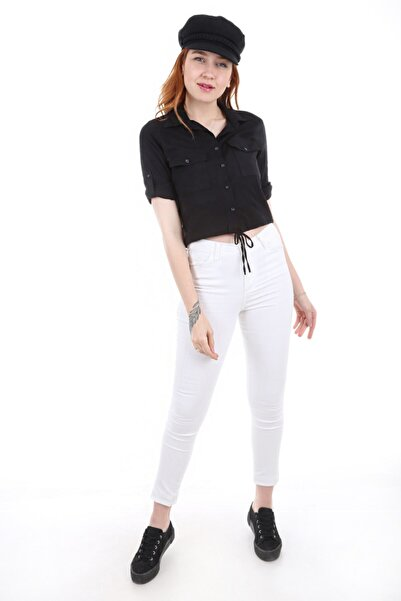 Kadın Siyah Çift Cepli Bağcıklı Gömlek