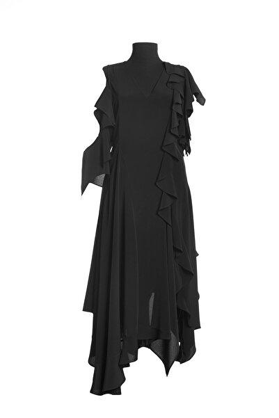Ayşen Armağan A2 961 Volanlı Kolsuz Elbise Siyah