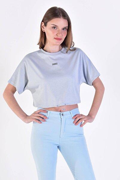 Addax Kadın Buz Mavi CHOICE Yazılı Tişört P0874 - D4 - D5 ADX-0000021844