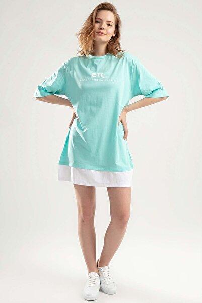 Y-London Kadın Su Yeşili Duble Kol Biyeli Tişört Elbise Y20S110-4155