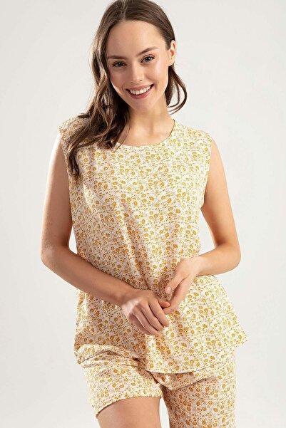 Y-London Kadın Hardal Sıfır Kol Atlet Şort Çiçekli Pijama Takımı Y20S110-6478-1