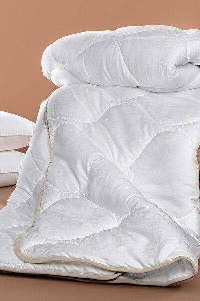 Madame Coco Vintage Jakarlı Biyeli Çift Kişilik Yorgan - Beyaz