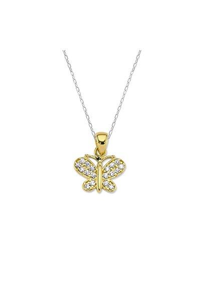 Milades Kadın Altın Kelebek Kolye Ucu + Zinciri